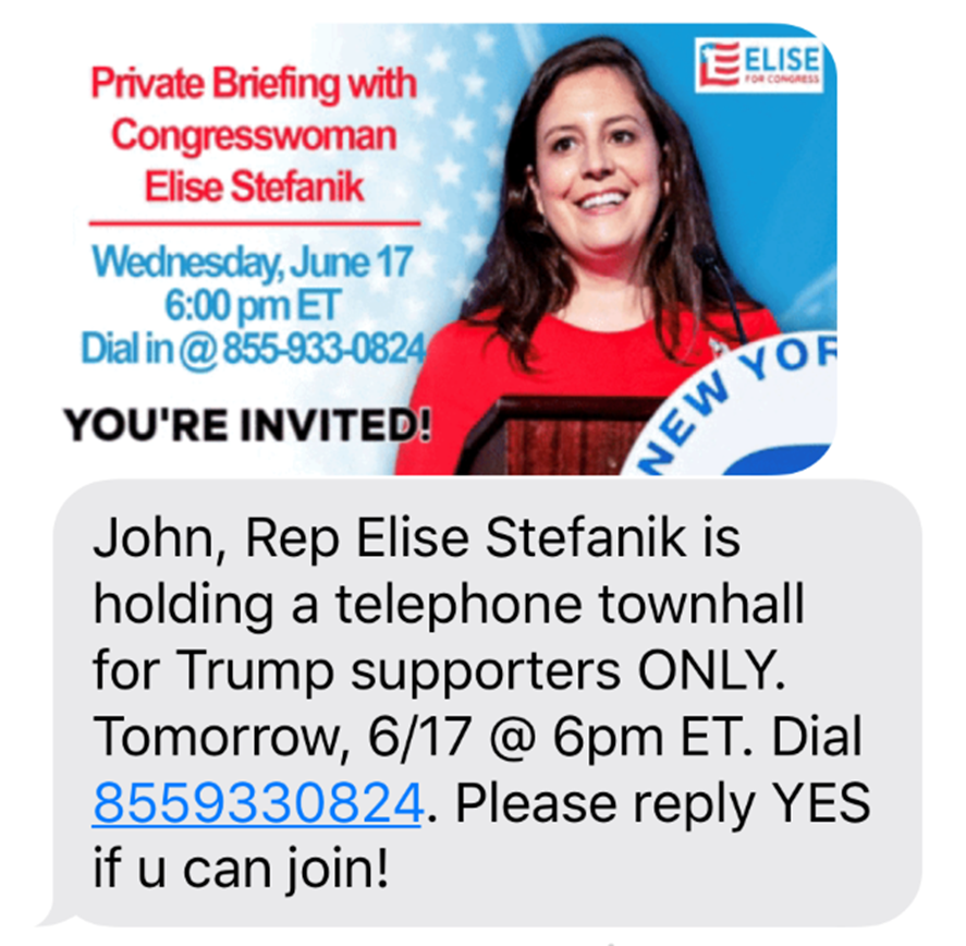 Elise Stefanik Text Message